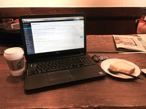 My Dell 3531 laptop pulling it's weight at Starbucks