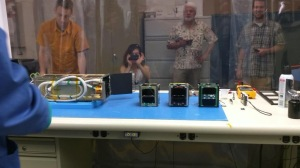 Fox-1A on the left with the two other CubeSats for this particular P-POD